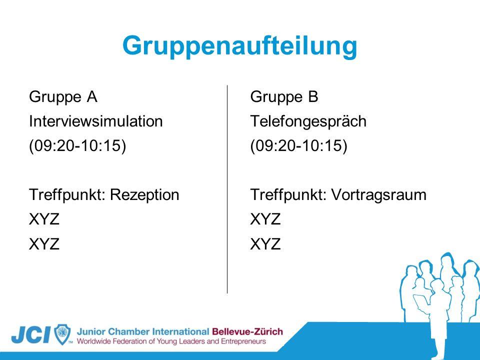 Gruppenaufteilung Gruppe A Interviewsimulation (09:20-10:15)