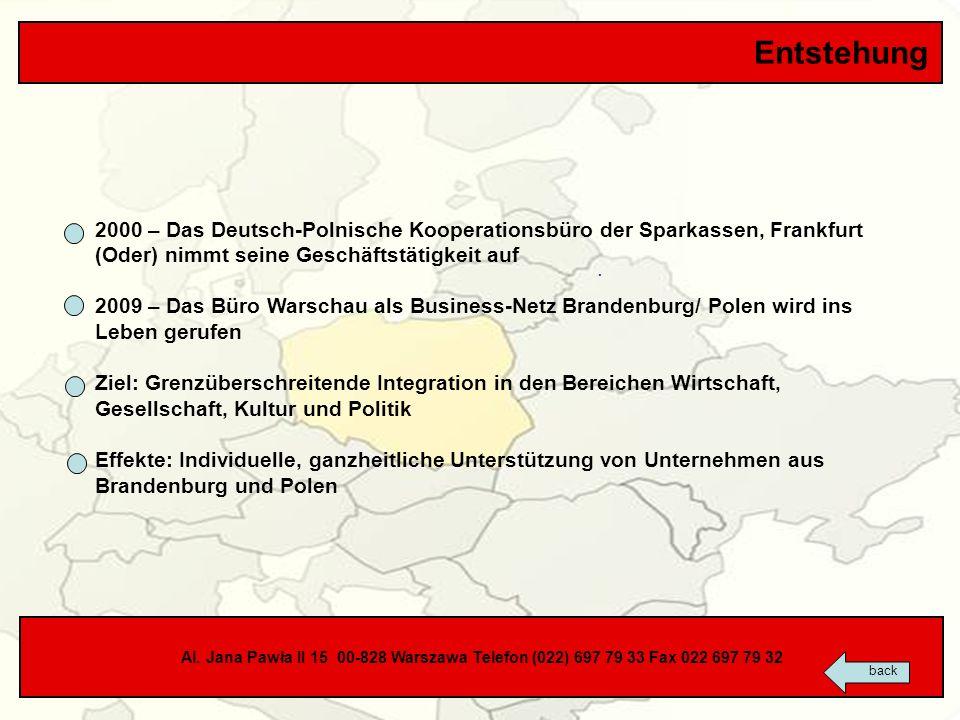 Entstehung2000 – Das Deutsch-Polnische Kooperationsbüro der Sparkassen, Frankfurt (Oder) nimmt seine Geschäftstätigkeit auf.