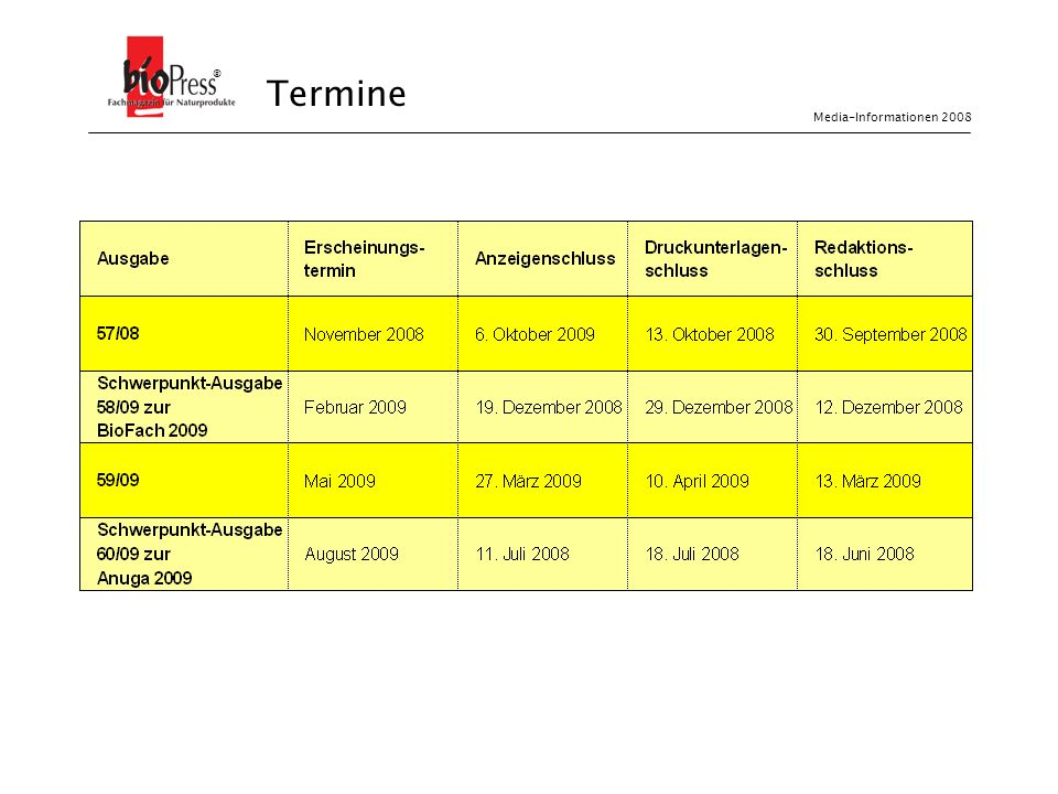 ® Termine Media-Informationen 2008