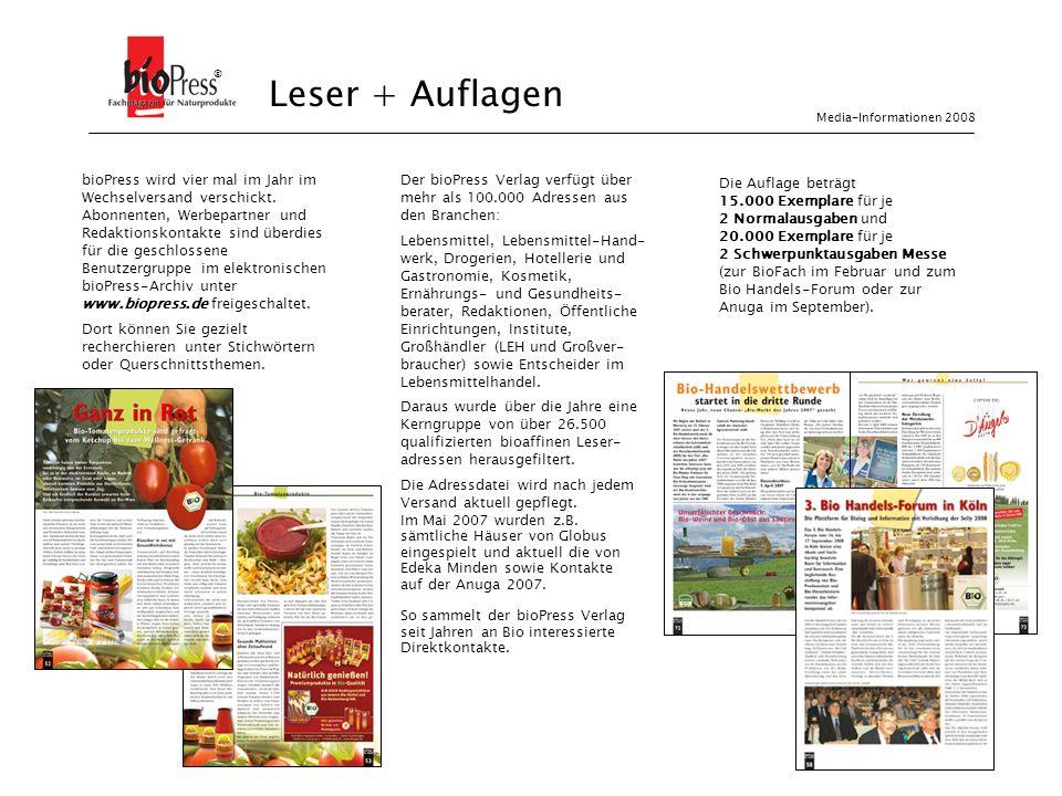 ® Leser + Auflagen. Media-Informationen 2008.