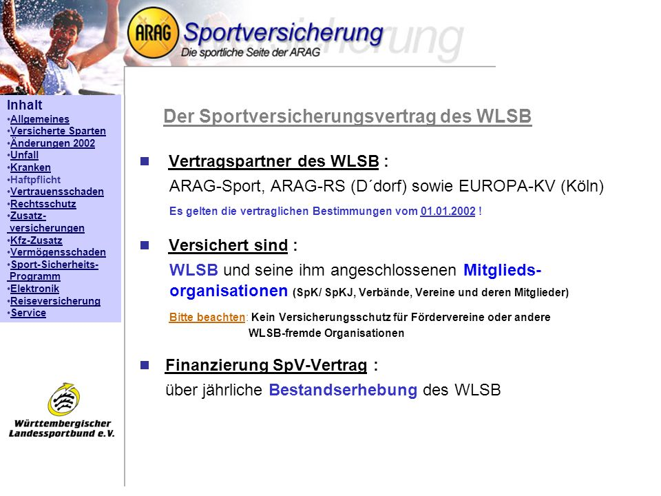 Der Sportversicherungsvertrag des WLSB
