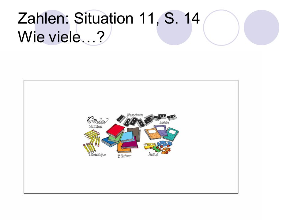 Zahlen: Situation 11, S. 14 Wie viele…