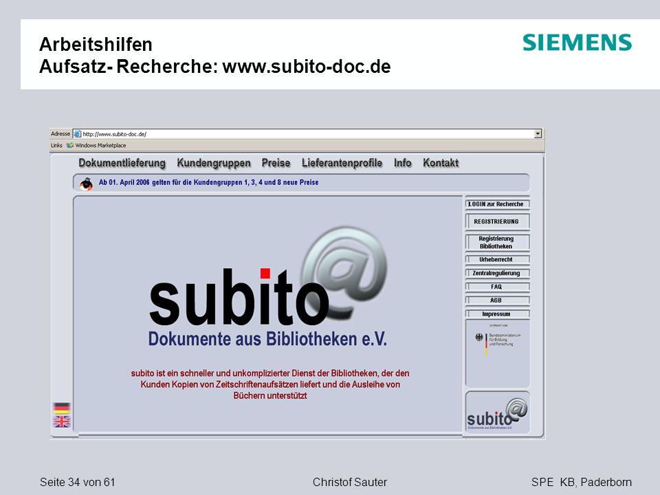 Arbeitshilfen Aufsatz- Recherche: www.subito-doc.de