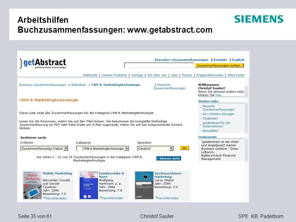 Arbeitshilfen Buchzusammenfassungen: www.getabstract.com