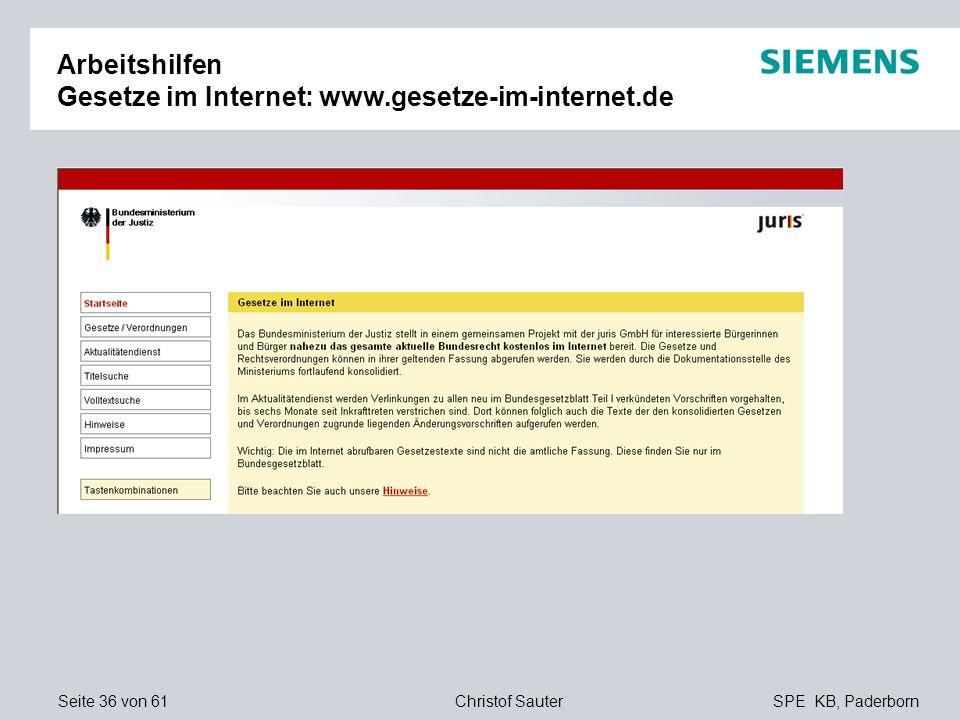 Arbeitshilfen Gesetze im Internet: www.gesetze-im-internet.de