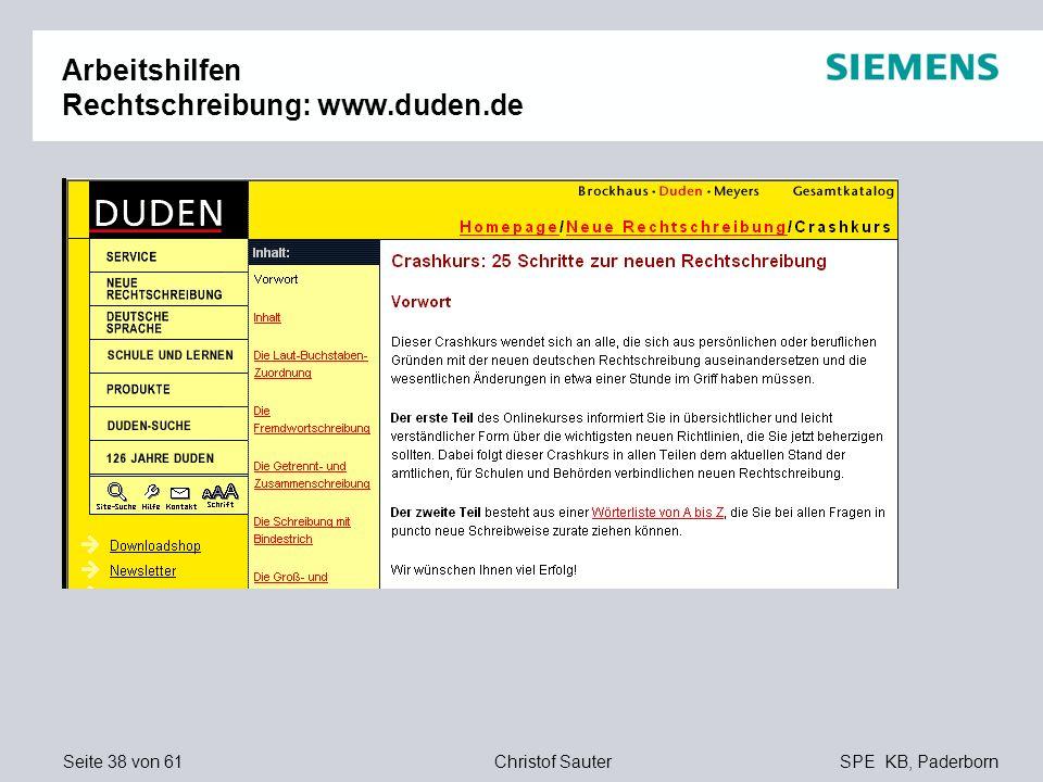 Arbeitshilfen Rechtschreibung: www.duden.de