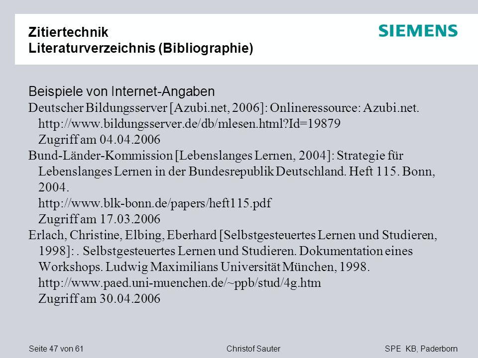 Zitiertechnik Literaturverzeichnis (Bibliographie)