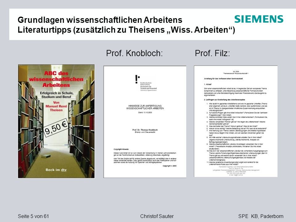 """Grundlagen wissenschaftlichen Arbeitens Literaturtipps (zusätzlich zu Theisens """"Wiss. Arbeiten )"""