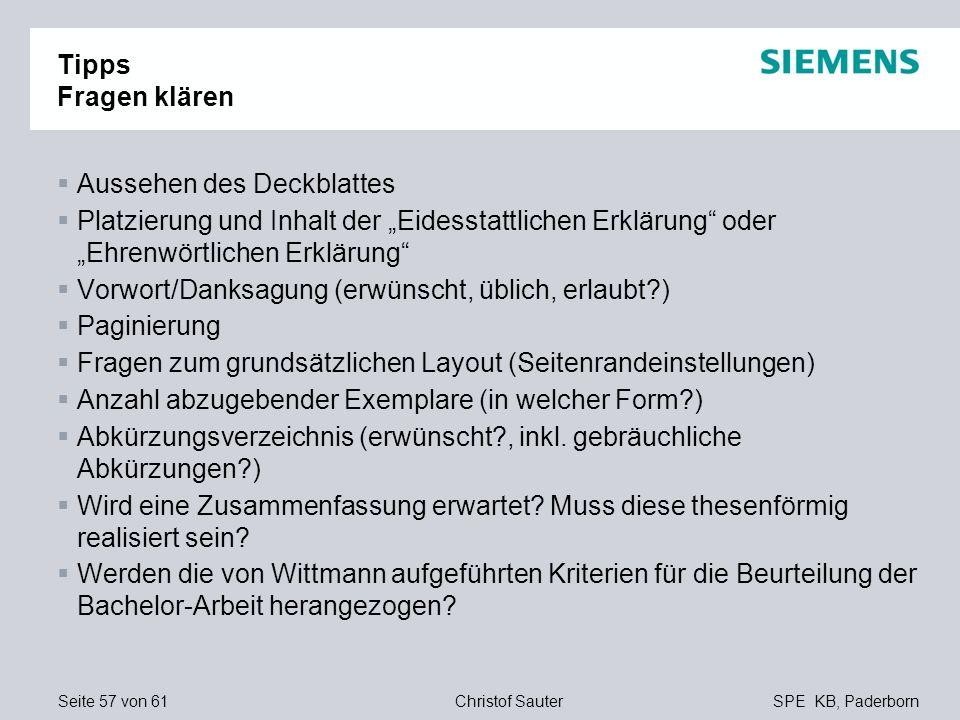 """Tipps Fragen klärenAussehen des Deckblattes. Platzierung und Inhalt der """"Eidesstattlichen Erklärung oder """"Ehrenwörtlichen Erklärung"""