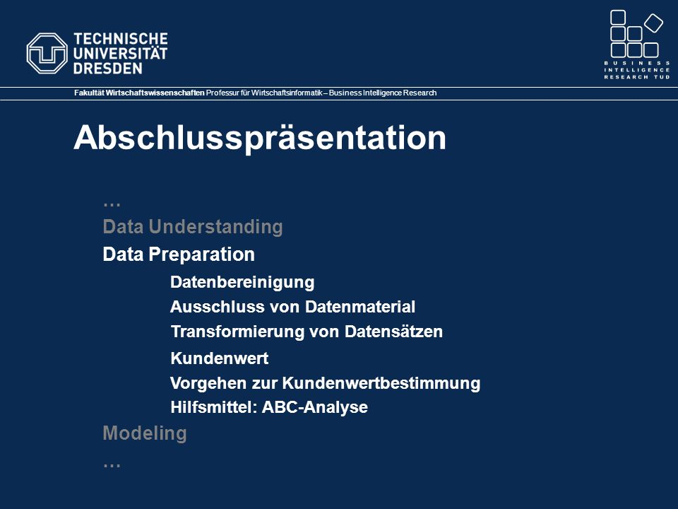 … Data Understanding Data Preparation Datenbereinigung Modeling
