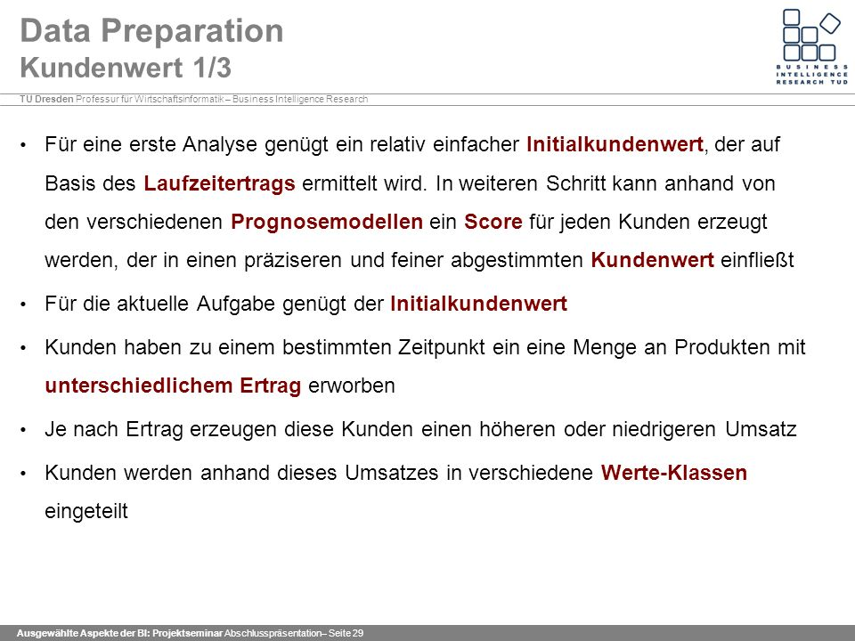 Data Preparation Kundenwert 1/3