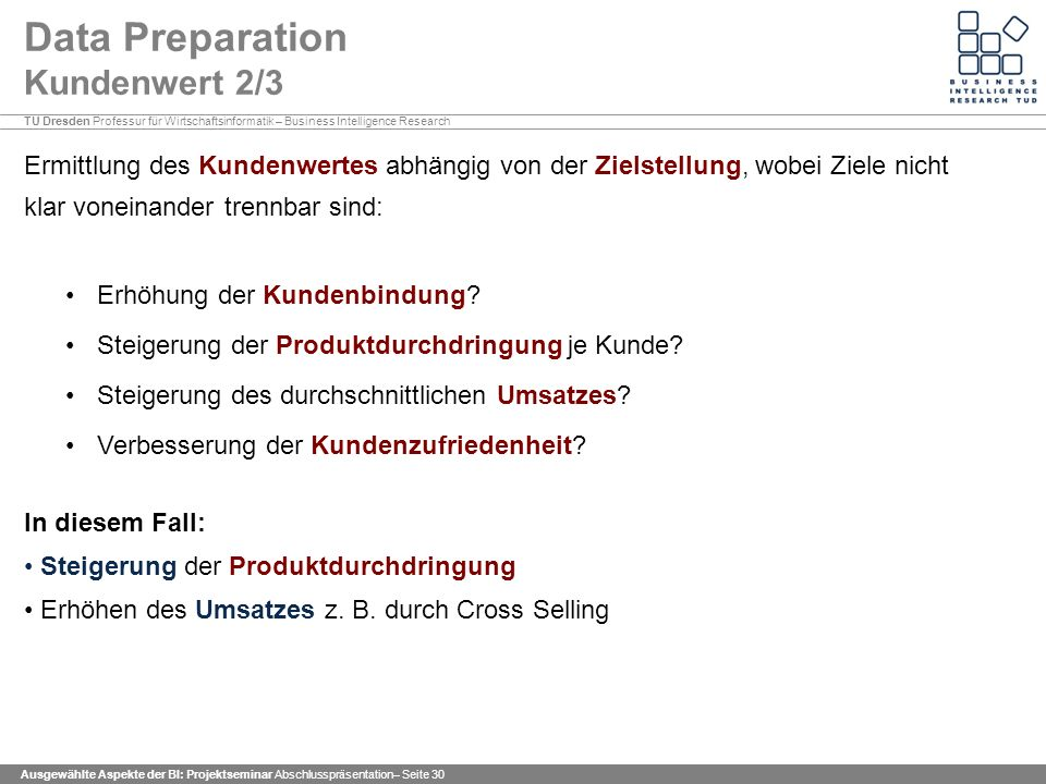 Data Preparation Kundenwert 2/3