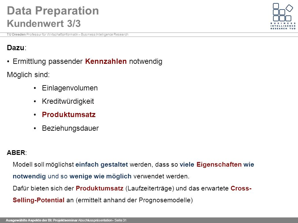 Data Preparation Kundenwert 3/3