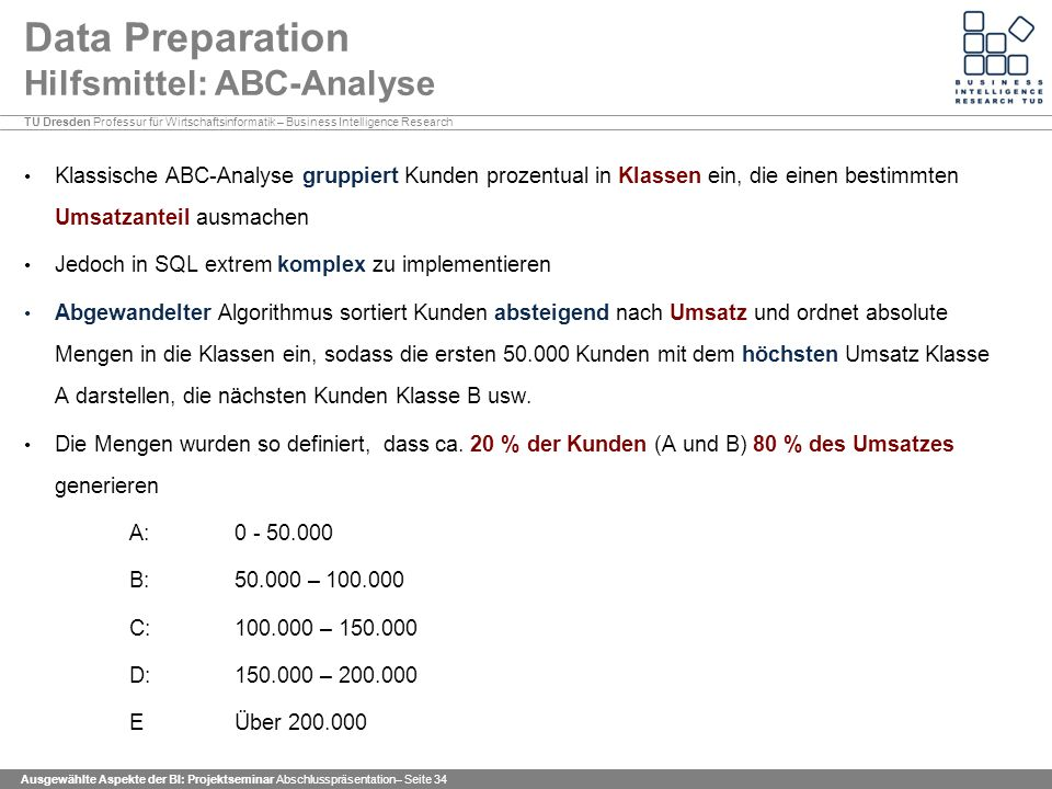 Data Preparation Hilfsmittel: ABC-Analyse