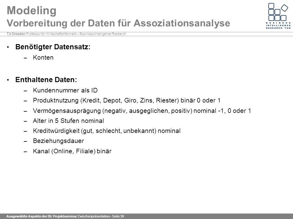Modeling Vorbereitung der Daten für Assoziationsanalyse