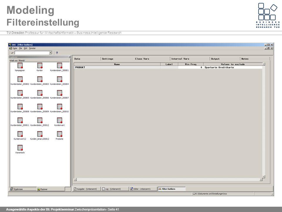 Modeling Filtereinstellung