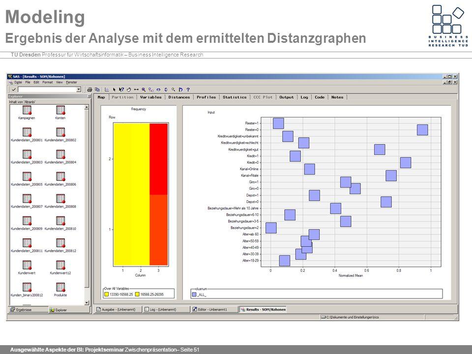 Modeling Ergebnis der Analyse mit dem ermittelten Distanzgraphen