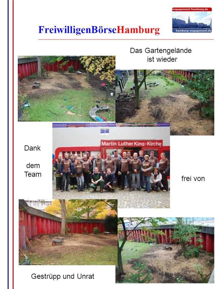 Das Gartengelände ist wieder Dank dem Team frei von Gestrüpp und Unrat