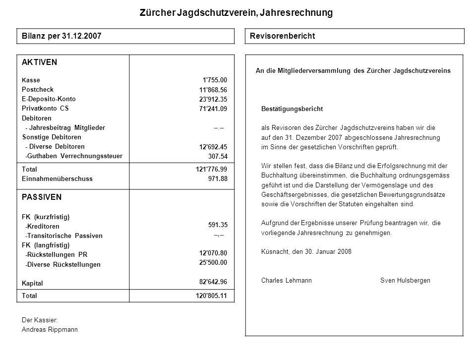 Zürcher Jagdschutzverein, Jahresrechnung