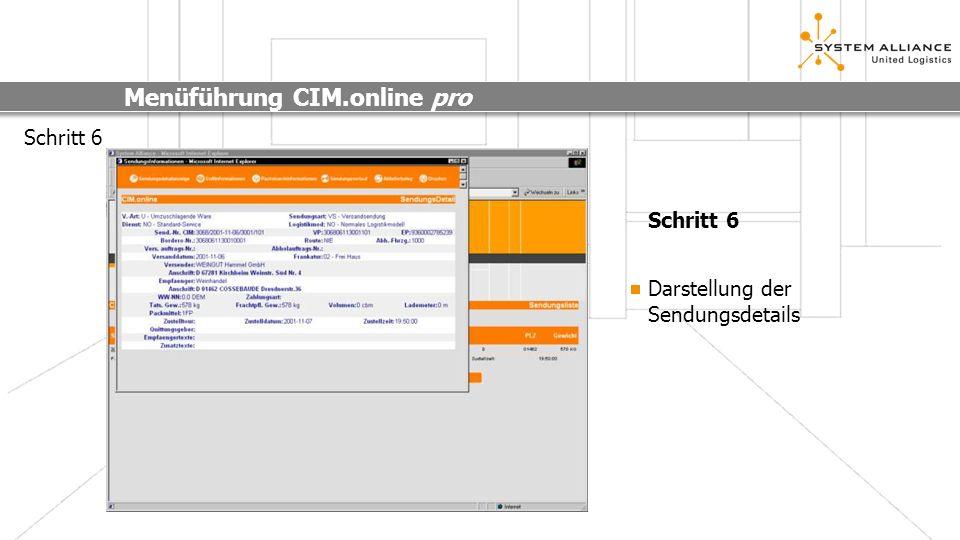 Menüführung CIM.online pro