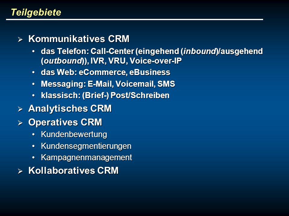 Teilgebiete Kommunikatives CRM Analytisches CRM Operatives CRM