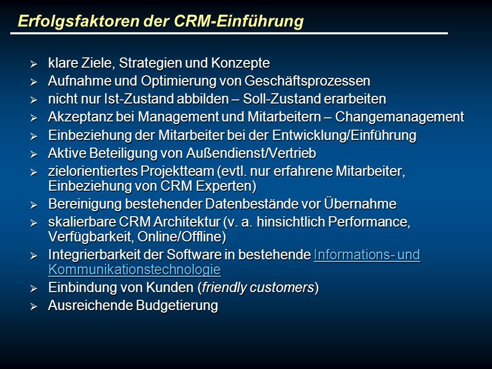 Erfolgsfaktoren der CRM-Einführung
