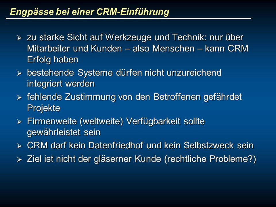 Engpässe bei einer CRM-Einführung