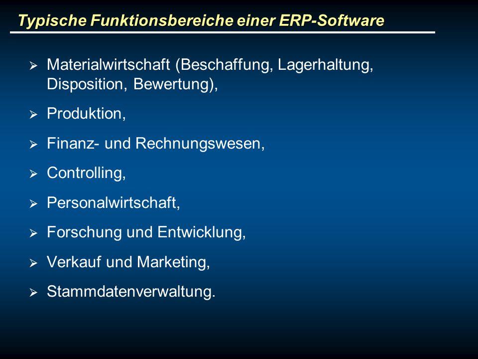 Typische Funktionsbereiche einer ERP-Software