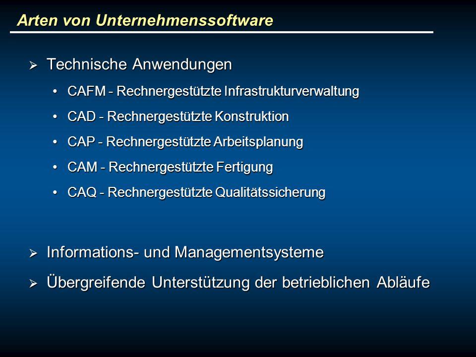 Arten von Unternehmenssoftware