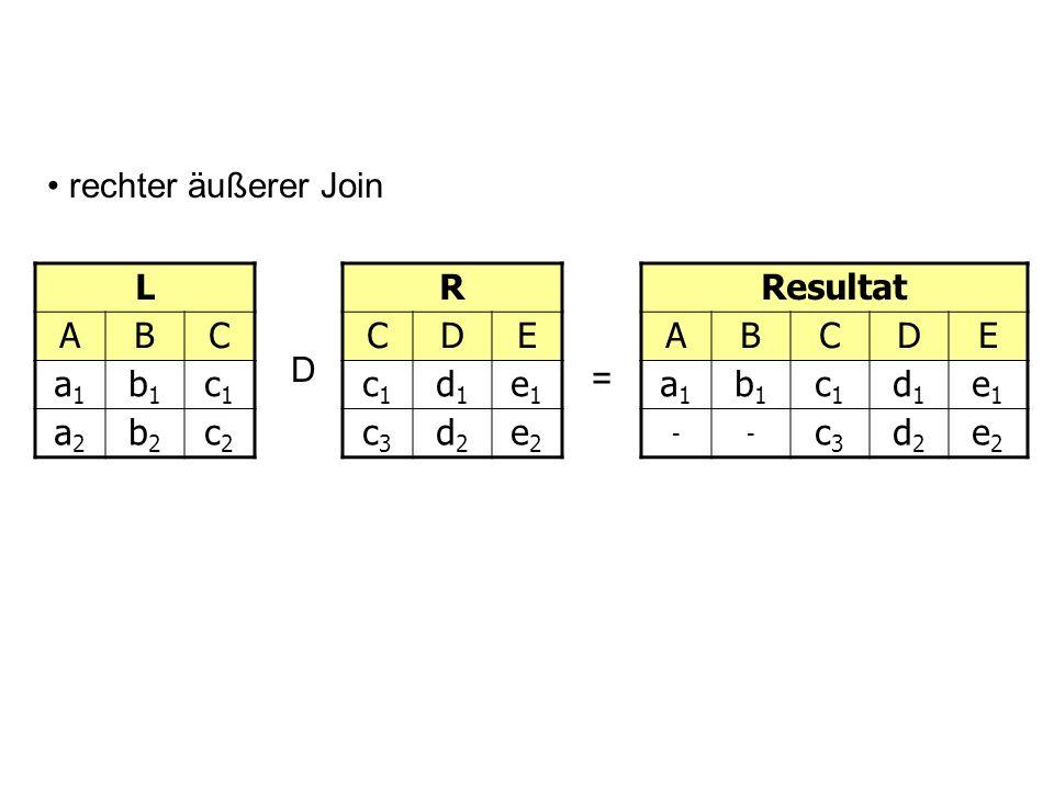 rechter äußerer JoinL. A. B. C. a1. b1. c1. a2. b2. c2. R. C. D. E. c1. d1. e1. c3. d2. e2. Resultat.