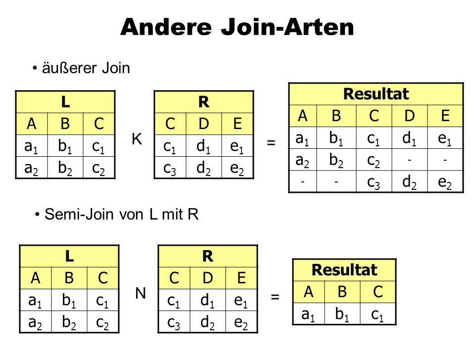 Andere Join-Arten äußerer Join Resultat A B C D E a1 b1 c1 d1 e1 a2 b2
