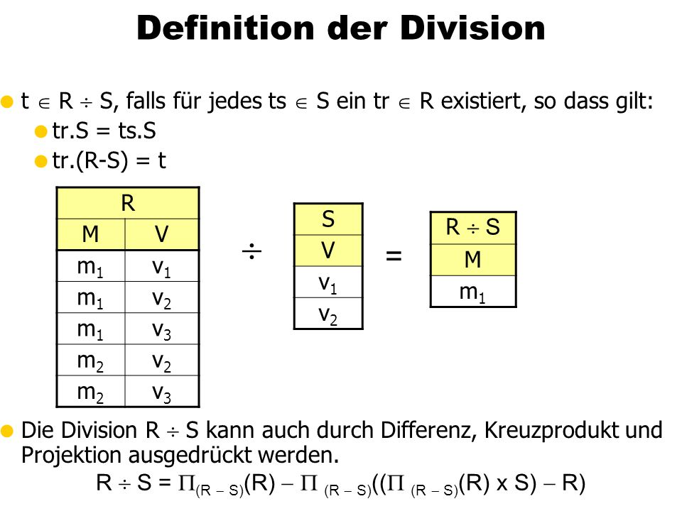  Definition der Division =