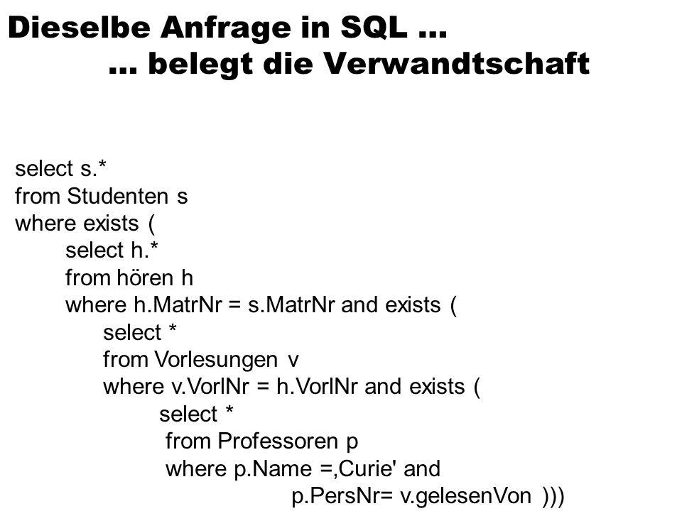 Dieselbe Anfrage in SQL … … belegt die Verwandtschaft
