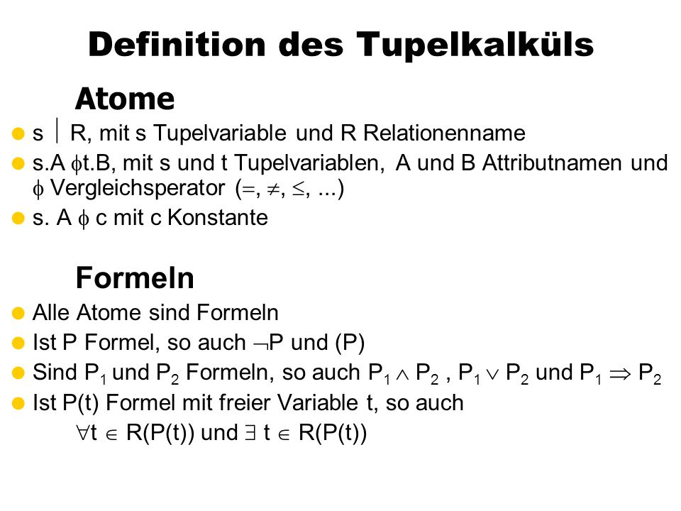 Definition des Tupelkalküls