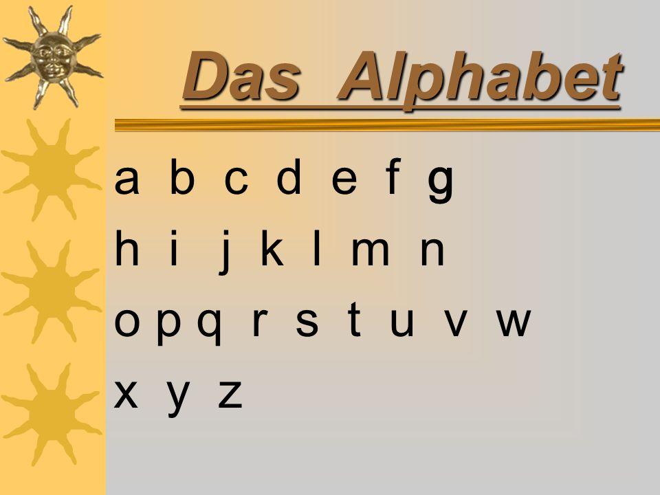 Das Alphabet a b c d e f g h i j k l m n o p q r s t u v w x y z