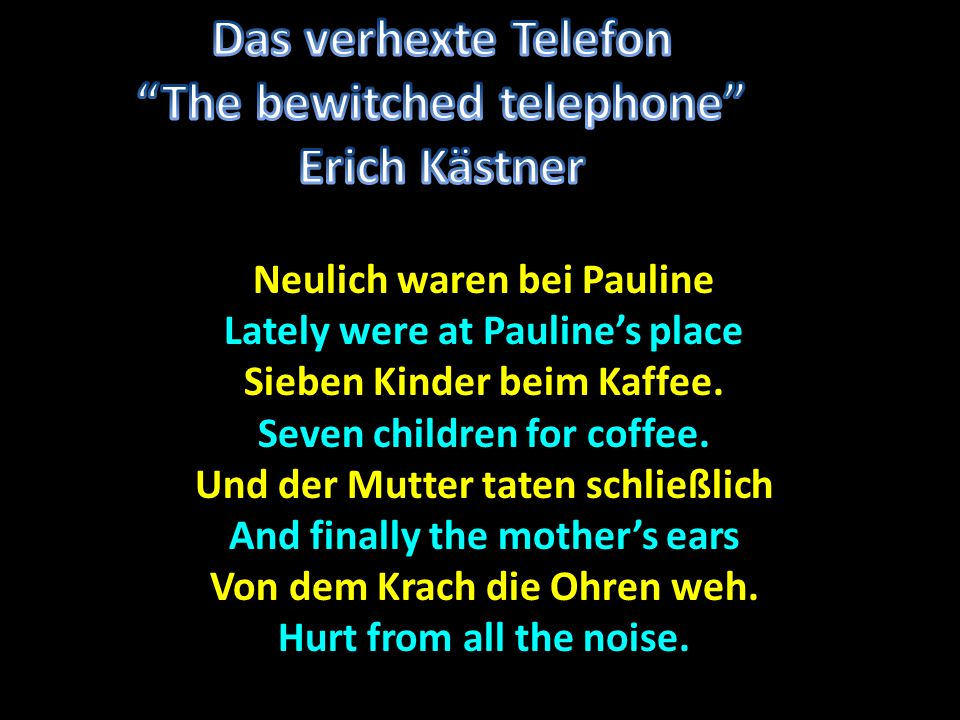 Das verhexte Telefon The bewitched telephone Erich Kästner