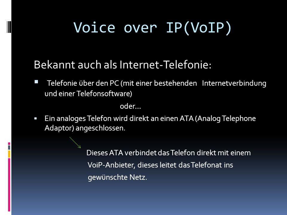 Voice over IP(VoIP) Bekannt auch als Internet-Telefonie: