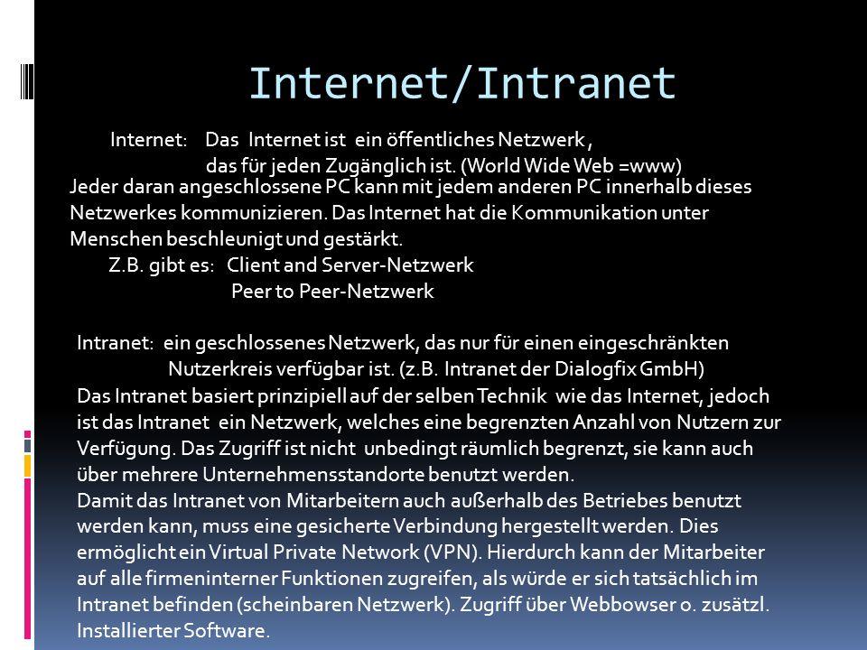 Internet/Intranet Internet: Das Internet ist ein öffentliches Netzwerk , das für jeden Zugänglich ist. (World Wide Web =www)