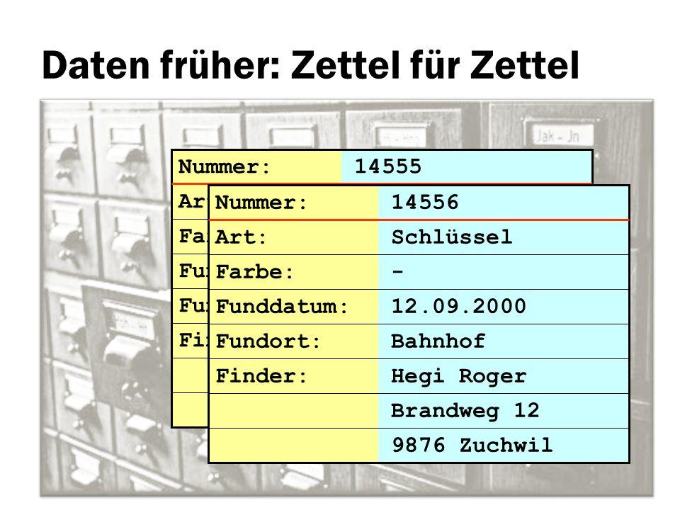 Daten früher: Zettel für Zettel