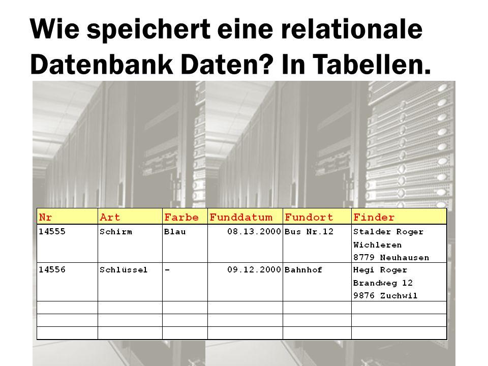 Wie speichert eine relationale Datenbank Daten In Tabellen.
