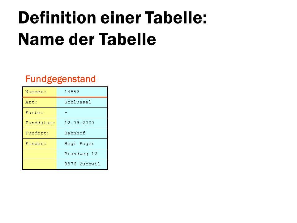 Definition einer Tabelle: Name der Tabelle