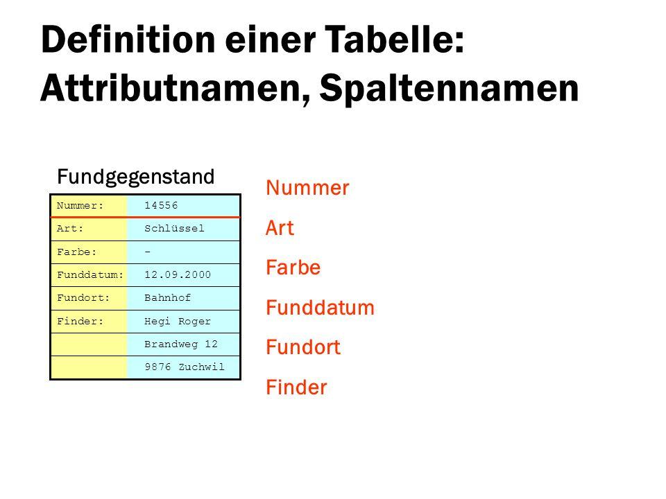 Definition einer Tabelle: Attributnamen, Spaltennamen