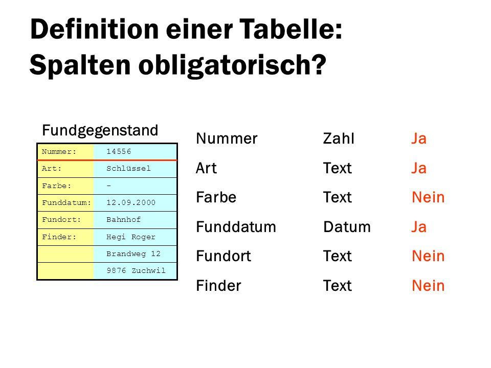 Definition einer Tabelle: Spalten obligatorisch