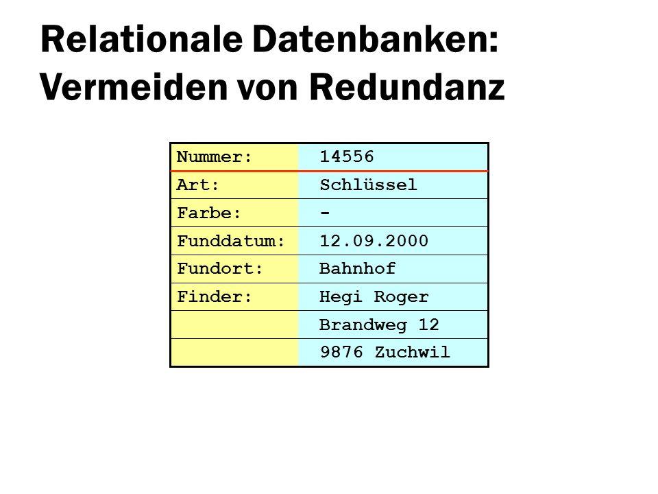 Relationale Datenbanken: Vermeiden von Redundanz