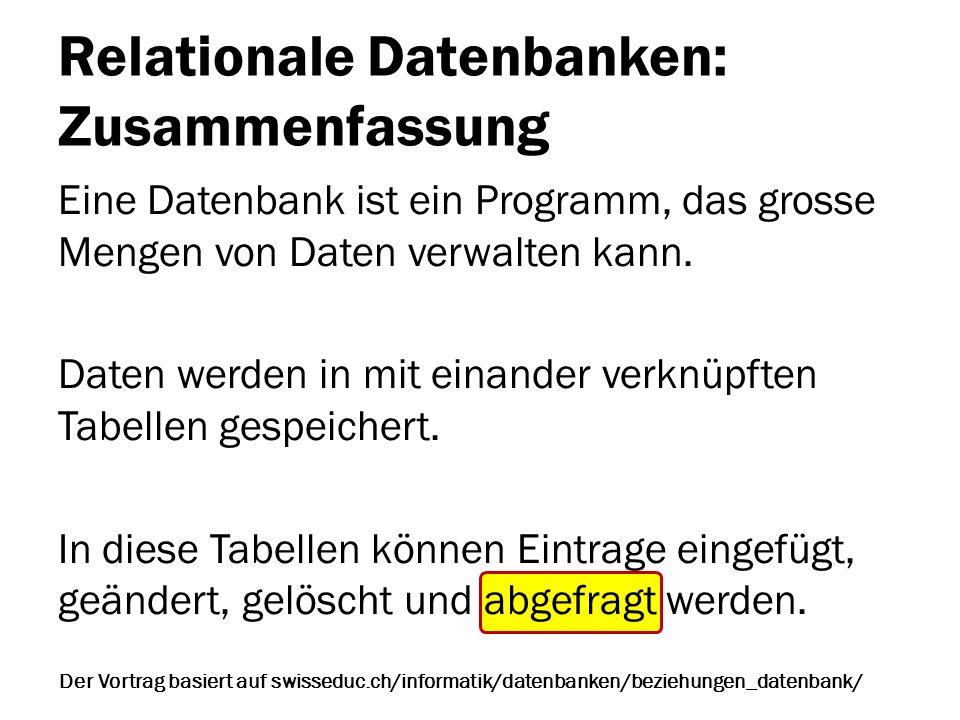 Relationale Datenbanken: Zusammenfassung