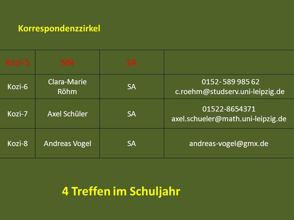 4 Treffen im Schuljahr Korrespondenzzirkel Kozi-5 NN SA Kozi-6