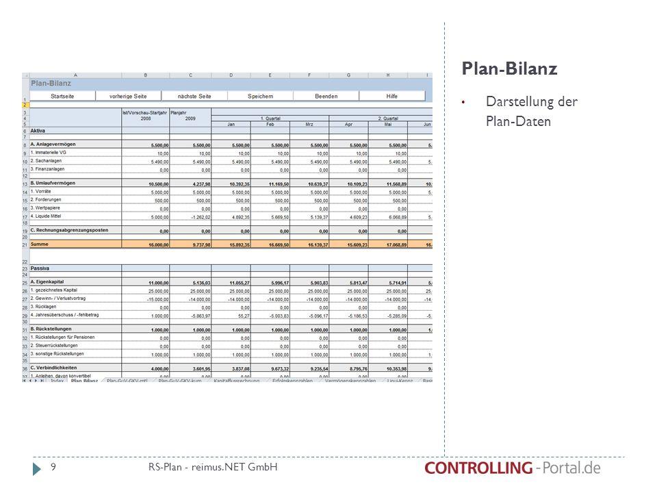 Plan-Bilanz Darstellung der Plan-Daten RS-Plan - reimus.NET GmbH