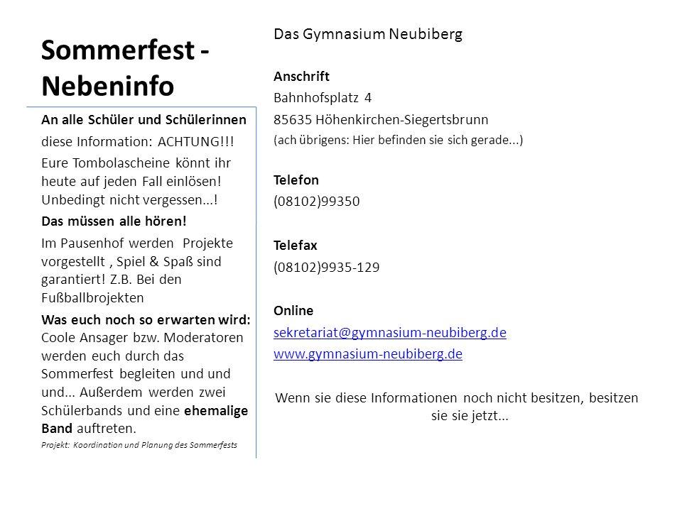 Sommerfest -Nebeninfo