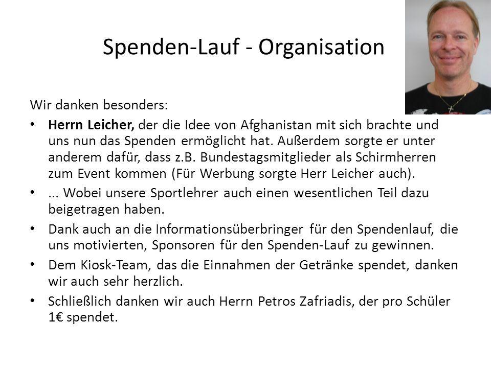 Spenden-Lauf - Organisation