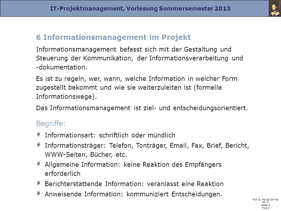 6 Informationsmanagement im Projekt